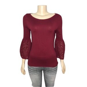WHBM Boat Neck Long Lace Bell Sleeve Top Burgundy Red